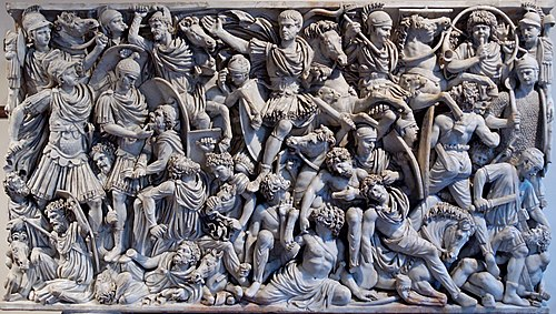 The 3rd-century Great Ludovisi sarcophagus depicts a battle between Goths and Romans. Grande Ludovisi Altemps Inv8574.jpg