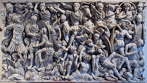 "On the Ludovisi sarcophagus, an example of the battle scenes favoured during the Crisis of the Third Century, the ""writhing and highly emotive"" Romans and Goths fill the surface in a packed, anti-classical composition Grande Ludovisi Altemps Inv8574.jpg"