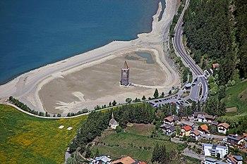 Reschensee wikipedia den frie encyklop di for Cabine del lago vuoto