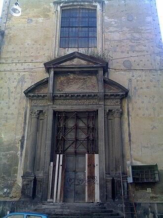 Santa Maria delle Grazie Maggiore a Caponapoli - Detail of Entrance portal.