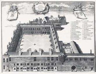 Gresham College - Gresham College, engraving by George Vertue, 1740