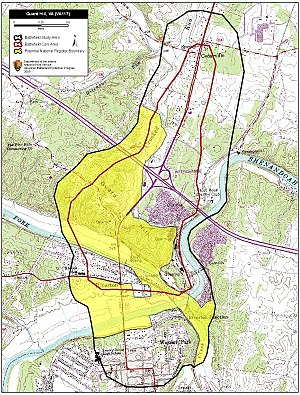 Battle of Guard Hill - Map of Guard Hill Battlefield core and study areas by the American Battlefield Protection Program.