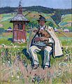 Gustaw Pillati - Góral z kobzą na tle krajobrazu.jpg