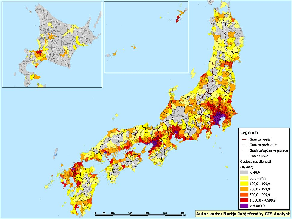 Gustoća naseljenosti po općinama-naseljima u Japanu 2015.