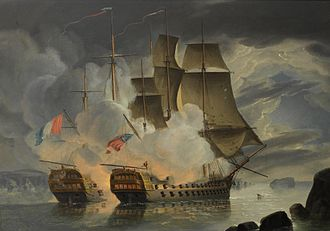 Battle of the Raz de Sein - Image: H.M.S. Mars and the French '74 Hercule off Brest, 21st April 1798