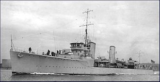 S-class destroyer (1917) - Champlain (ex-Torbay), c.1932, showing the raised gun platform forward, characteristic of the Thornycroft S class