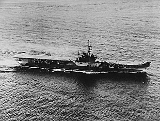 French aircraft carrier Arromanches (R95) - Image: HMS Colossus (R15) off Shanghai 1945
