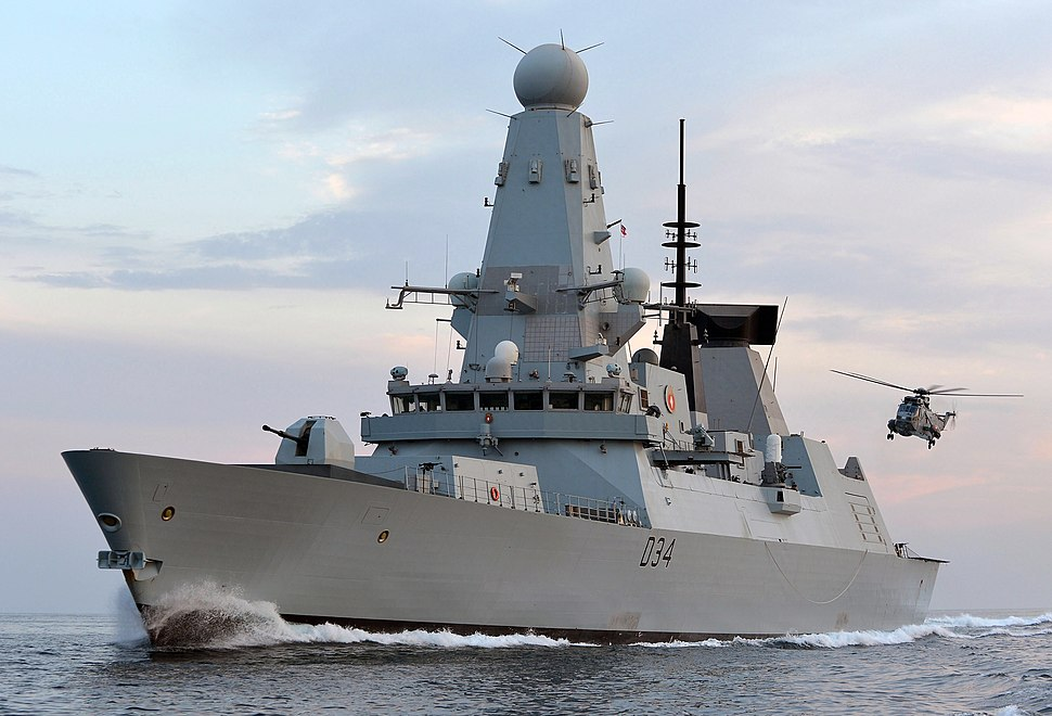 HMS Diamond with Sea King Helicopter MOD 45154621