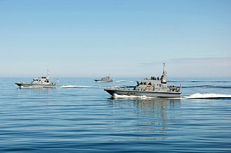HMS Explorer (P164) - HMS Explorer in formation with HMS Biter, HMS Pursuer, and HMS Trumpeter on a summer deployment in the Baltic Sea, 2015 (Photo taken from HMS Trumpeter).