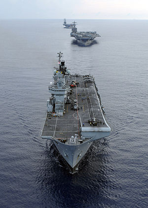 The Royal Navy Invincible-class aircraft carri...