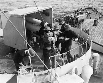 Convoy ON 144 - Bow of the corvette HMS Vervain