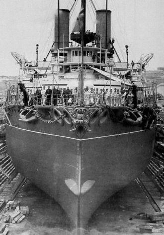 HMS Victoria (1887) - Victoria in dry dock at Malta.