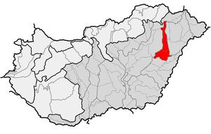 Hajdúság - Location of Hajdúság as one of 35 mesoregions in physical geography of Hungary