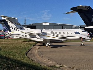 2015 Blackbushe Phenom 300 crash - The accident aircraft at London Luton Airport in 2014