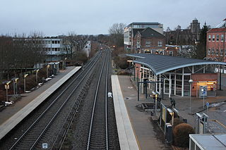 railway station in Favrskov Municipality, Denmark