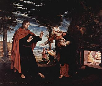 Art in the Protestant Reformation and Counter-Reformation - Hans Holbein the Younger's Noli me tangere a relatively rare Protestant oil painting of Christ from the Reformation period. It is small, and generally naturalistic in style, avoiding iconic elements like the halo, which is barely discernible.
