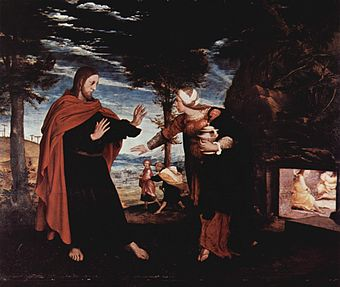 Hans Holbein the Younger's Noli me tangere a relatively rare Protestant oil painting of Christ from the Reformation period. It is small, and generally naturalistic in style, avoiding iconic elements like the halo, which is barely discernible. Hans Holbein d. J. 017.jpg