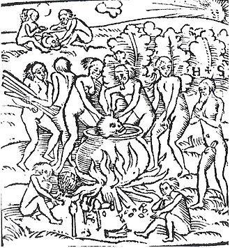 Tupinambá people - Image: Hans Staden, Tupinamba portrayed in cannibalistic feast