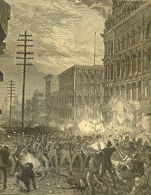 Great Railroad Strike of 1877 - Maryland National Guard's Sixth Regiment fighting its way west along main downtown commercial thoroughfare Baltimore Street through Baltimore, Maryland, 20 July 1877