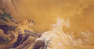 Hashimoto Gahō - Dragon against tiger. Colour on silk, 1899. Museum of the Imperial Collections