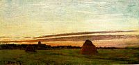 Haystacks at Chailly at Sunrise, 1865, oil on canvas, 11 7-8 x 23 3-4 inches (30 x 60 cm), San Diego Museum of Art.jpg