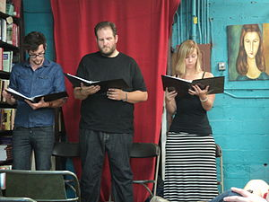 Cold reading (theatrical) - A play's inaugural reading held at a used bookstore in Boise, Idaho