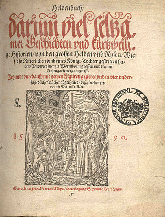 Sigmund Feyerabend - Title page of the 1590 edition of the Heldenbuch, illustrated by Virgil Solis and Jost Amman