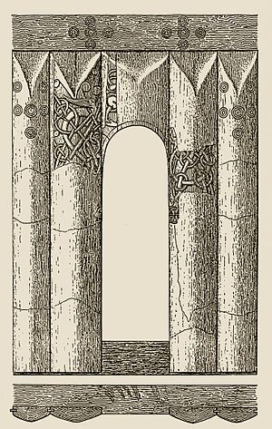 Hemse stave church - Drawing of the portal