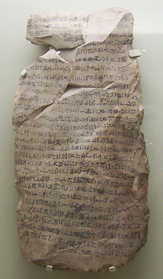 Ostracon - One of four official letters to vizier Khay copied onto a limestone ostracon, in Egyptian Hieratic