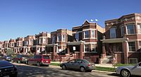 A series of 2-story brick multi unit homes located on Keystone near Palmer.