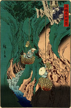 Ethnolichenology - Iwatake (Umbilicaria esculenta) gathering at Kumano in Kishū, by Hiroshige II