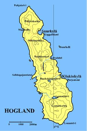 Gogland - Map of Hogland. The topographic curves are spaced 30 meters apart.