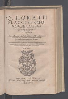 Horatii Flacci Sermonum, 1577