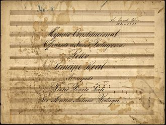 "Hino da Carta - Copy of the original ""Hymno da Carta""."