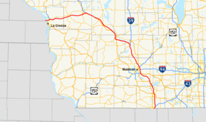Interstate 90 in Wisconsin - Image: I 90 (WI) map