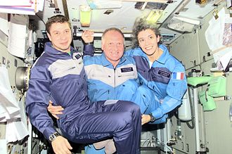 Claudie Haigneré - Haigneré (right) aboard the International Space Station.