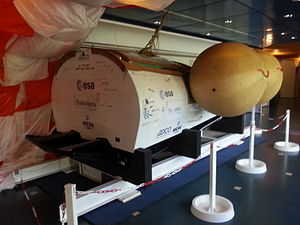 Intermediate eXperimental Vehicle - This is the drop-test model of the IXV with the flotation balloons inflated, as displayed in ESA ESTEC. Note that the flaps in this model cannot move.