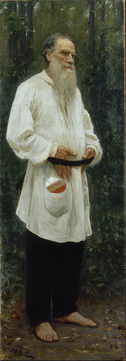 Tolstoy dressed in peasant clothing, by Ilya Repin (1901) Ilya Repin - Leo Tolstoy Barefoot - Google Art Project.jpg