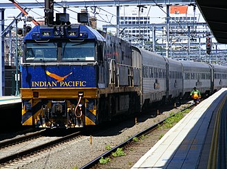 Lists of named passenger trains - The Indian Pacific, a named passenger train in Australia.