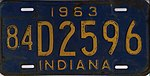 Indiana 1963 license plate - Number 84 D2596.jpg