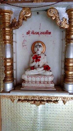 Indrabhuti Gautama - The statue of Indrabhuti Gautama in Jain temple at Mundra