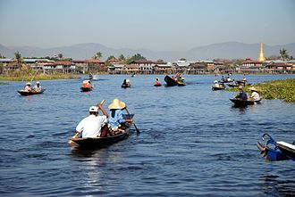 Inle Lake - Boat carrying tourists