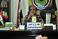 Iraqi Police Col. Hadi Hashish meets with U.S. Soldiers to discuss security and coordination concerns in the Basrah province at the Shat Al Arab District Headquarters in Tannumal, Iraq, March 13, 2011 110313-A-WO967-007.jpg
