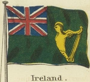 Green Ensign - Image: Ireland. Johnson's new chart of national emblems, 1868