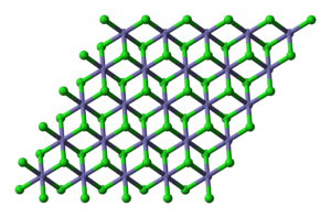 Iron(II) chloride - structure of anhydrous ferrous chloride (purple = Fe, green = Cl)