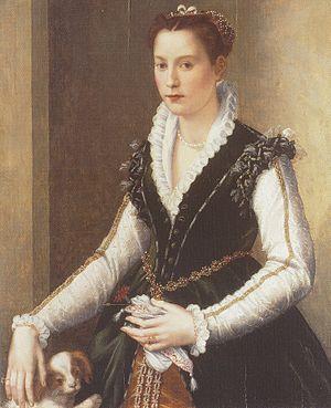 Isabella de' Medici - Wedding portrait of 16-year-old Isabella de' Medici  by Alessandro Allori, private collection, England.