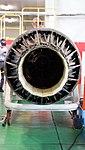 Ishikawajima-Harima F100-IHI-220E turbofan engine(cutaway model) exhaust nozzle behind view at JASDF Hamamatsu Air Base September 28, 2014.jpg