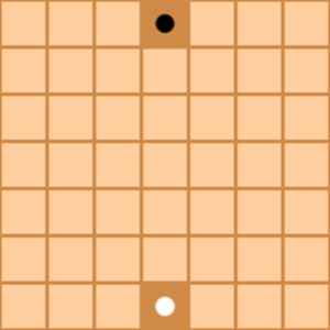 Isola (board game) - The starting position.