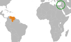 Map indicating locations of Israel and Venezuela