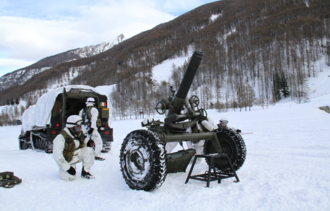 2nd Alpini Regiment - Alpini of the 106th Mortar Company with a 120mm mortar